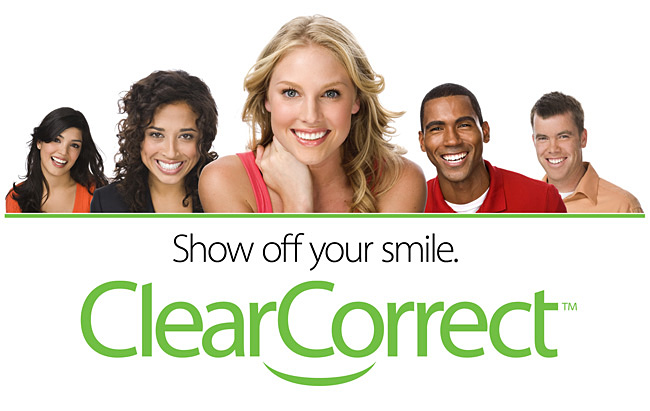 Clear Correct invisible braces banner shows smiling people